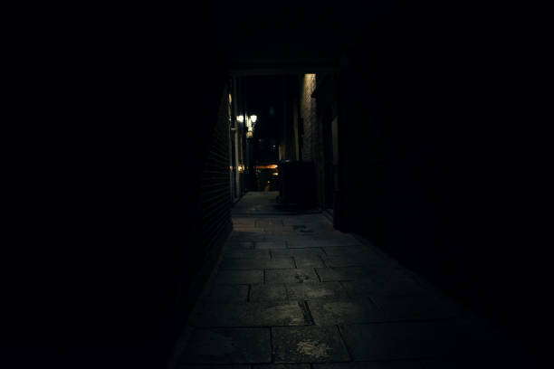 Victorian Street with Victorian street lights, Jack the Ripper stock photo
