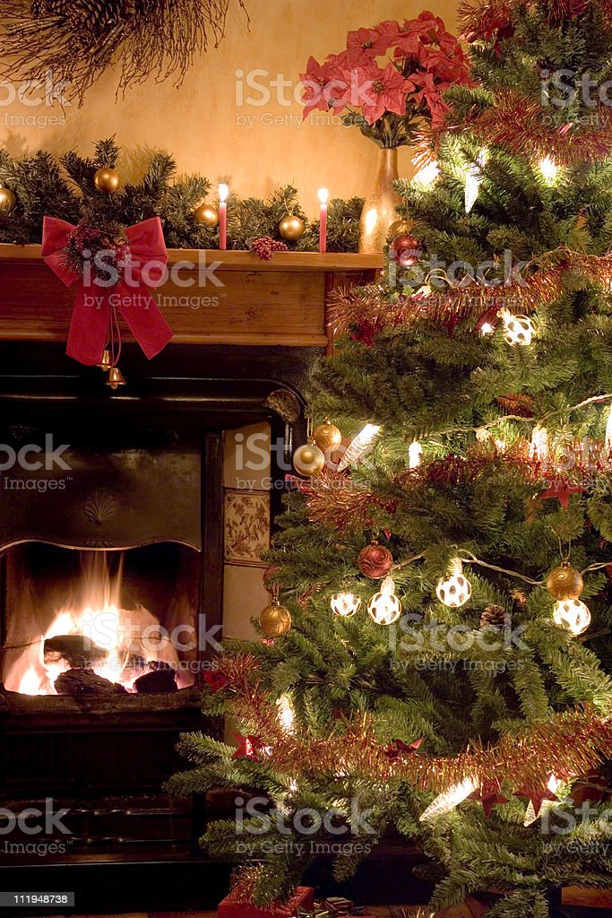 Victorian style christmas room, close up. stock photo
