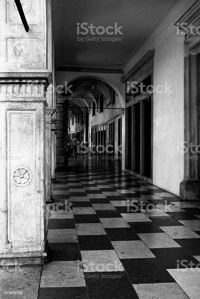 Victorian Style Colonnade. Black and White royalty-free stock photo