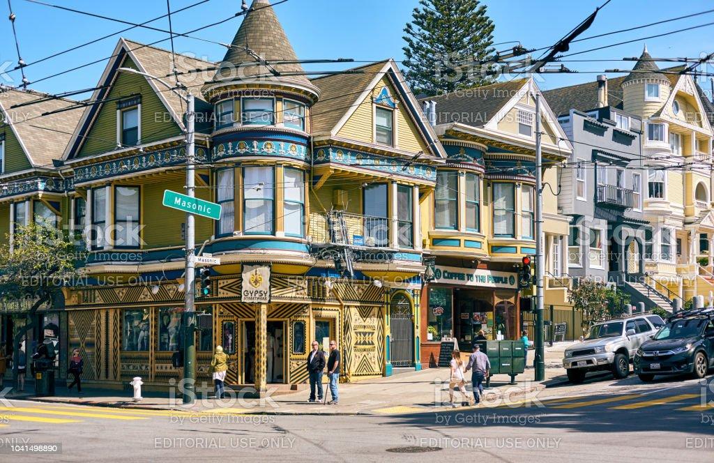 Victorian style homes in San Francisco SAN FRANCISCO - APRIL 24, 2018: Victorian style homes in Haight-Ashbury neighborhood, San Francisco, California, USA Haight Ashbury Stock Photo