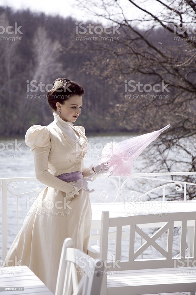 Victorian Style. In The Park. stock photo