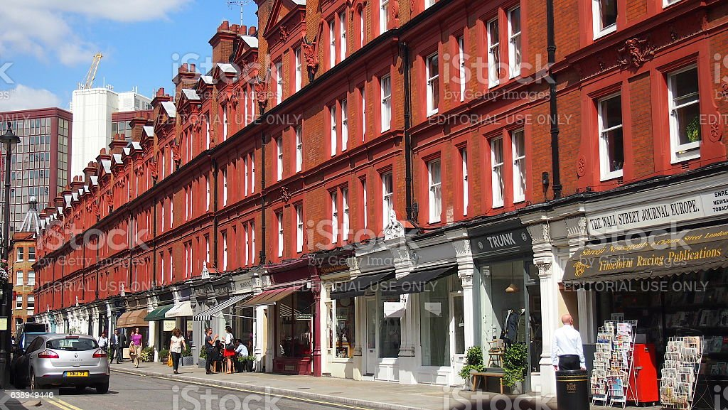 Victorian style red brick terraced row of shops, Chiltern Street stock photo
