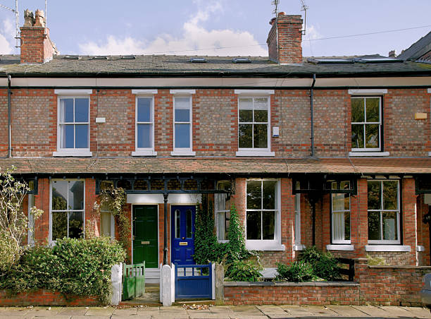 victorian terrace, didsbury, manchester, uk-more buildings exteriors below - terraced houses stock photos and pictures