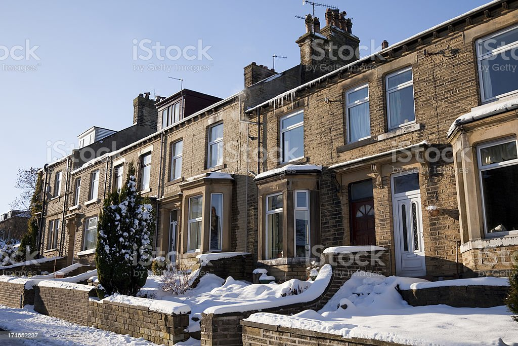 Victorian terrace houses in winter royalty-free stock photo