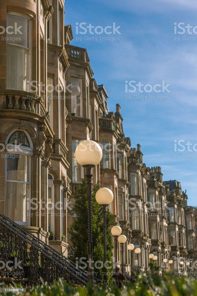 Terraza Victoriana En El Barrio De Queens Park De Glasgow