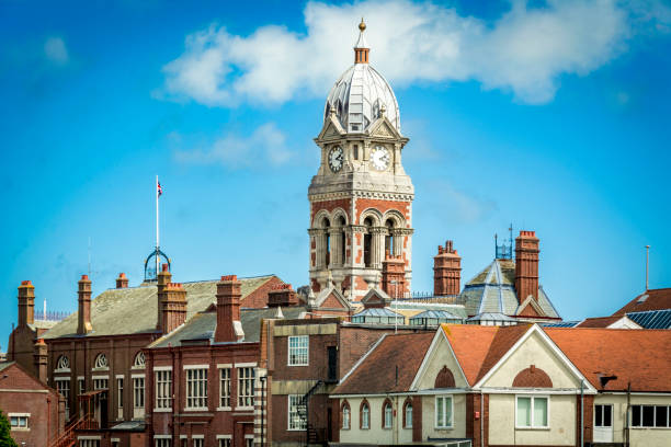 Victorian town hall building at Eastbourne in Sussex stock photo