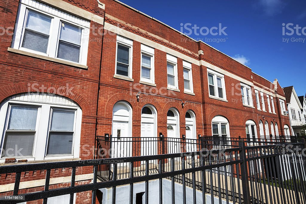 Victorian town houses in East Side, Chicago royalty-free stock photo