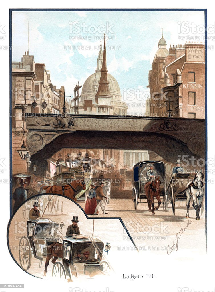 Victorian traffic in Ludgate Hill, London stock photo