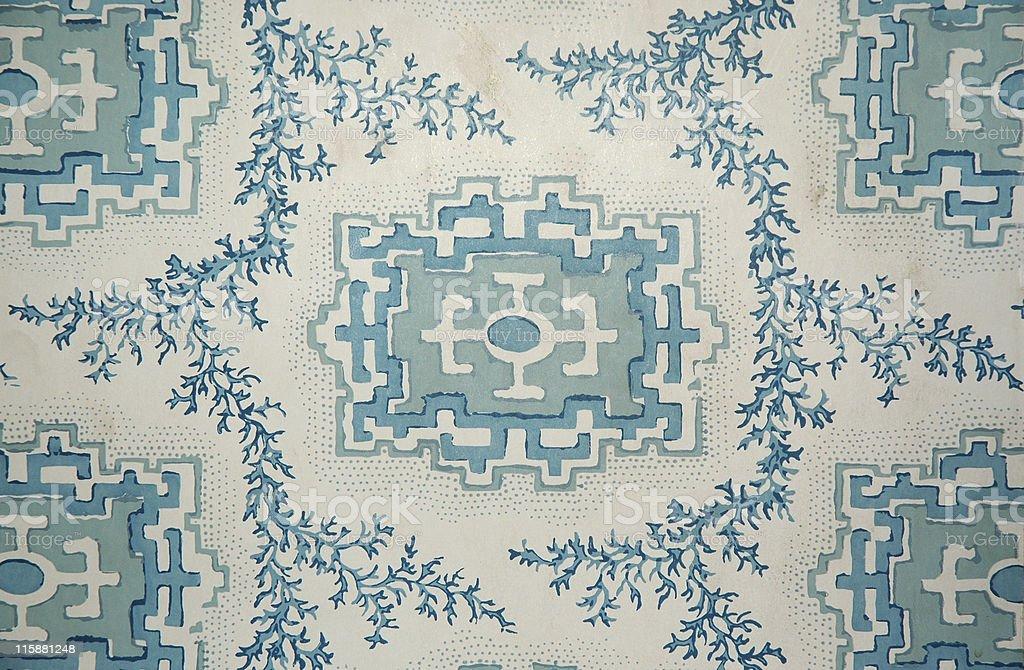 Victorian wallpaper in blue geometric pattern royalty-free stock photo