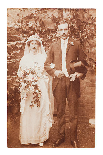 Victorian Wedding Vintage photographic portrait of a young Victorian couple on their wedding day.... edwardian style stock pictures, royalty-free photos & images