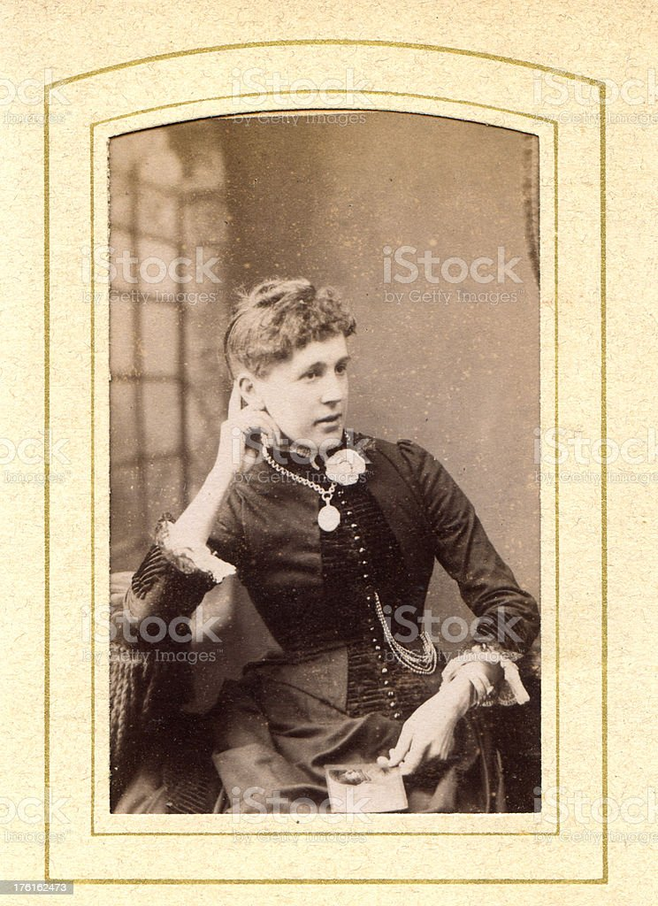 Victorian Young Woman Old Photograph stock photo