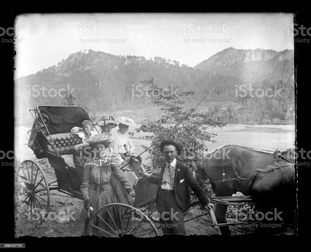 Victorian-era Family on Vacation stock photo