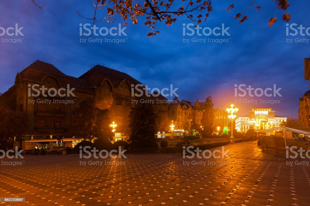 Victoriei Square with National Opera house at dusk stock photo