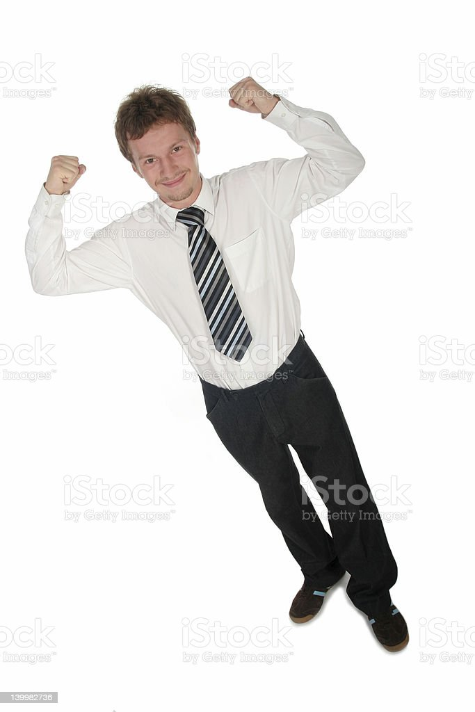 Victorious Businessman royalty-free stock photo