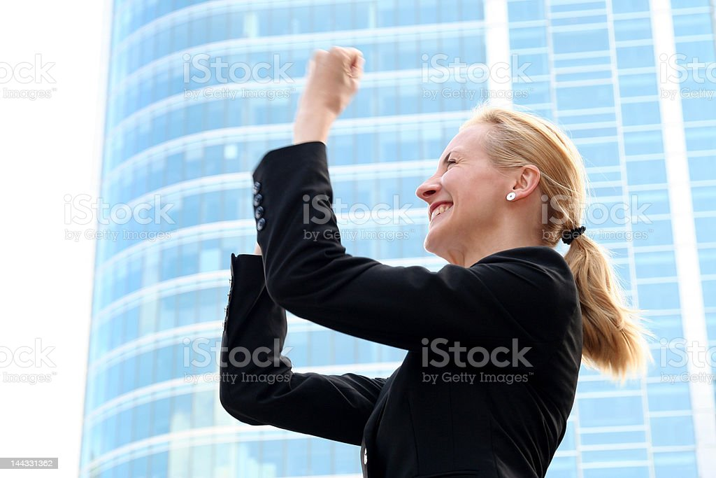 Victorious Businesswoman royalty-free stock photo