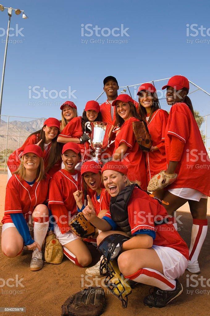 Victoriosa equipo de Softball - foto de stock