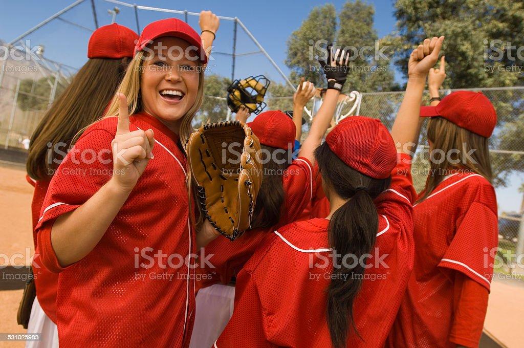 Victorious Softball Team stock photo