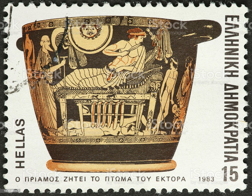 victorious soldier reclining, ancient Greek pottery stock photo