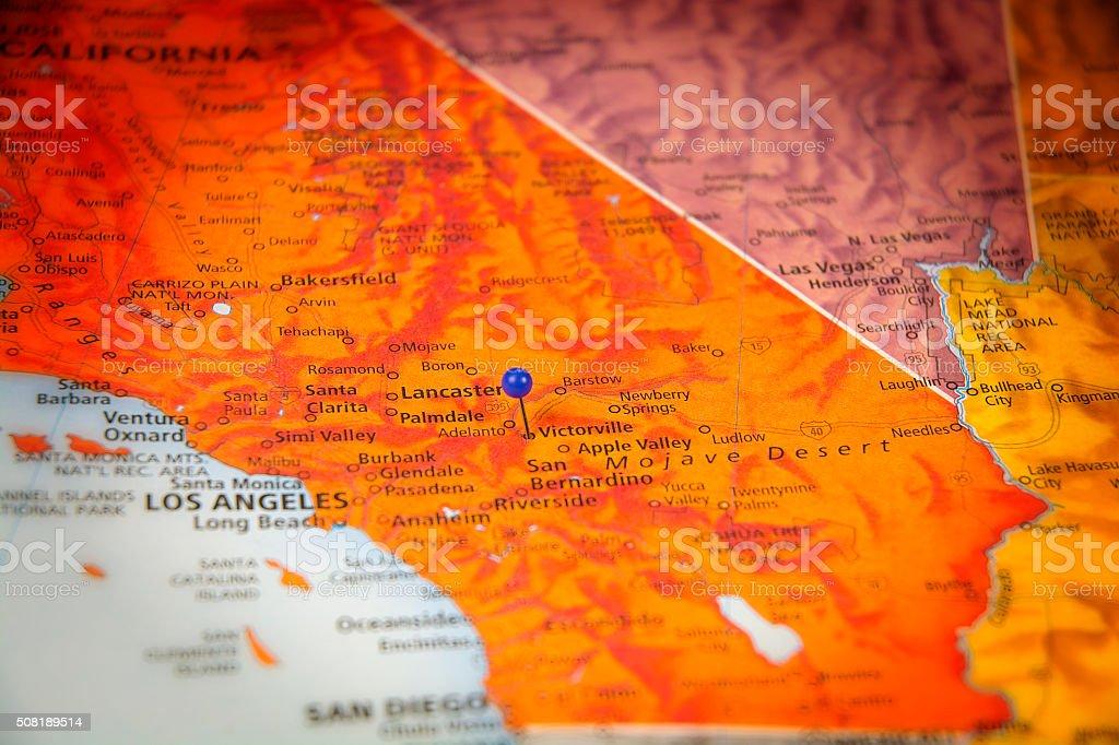 Victorville California Travel Road Map Macro stock photo iStock