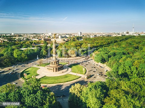 Aerial View of Victory column and Berlin Tiergarten, Germany