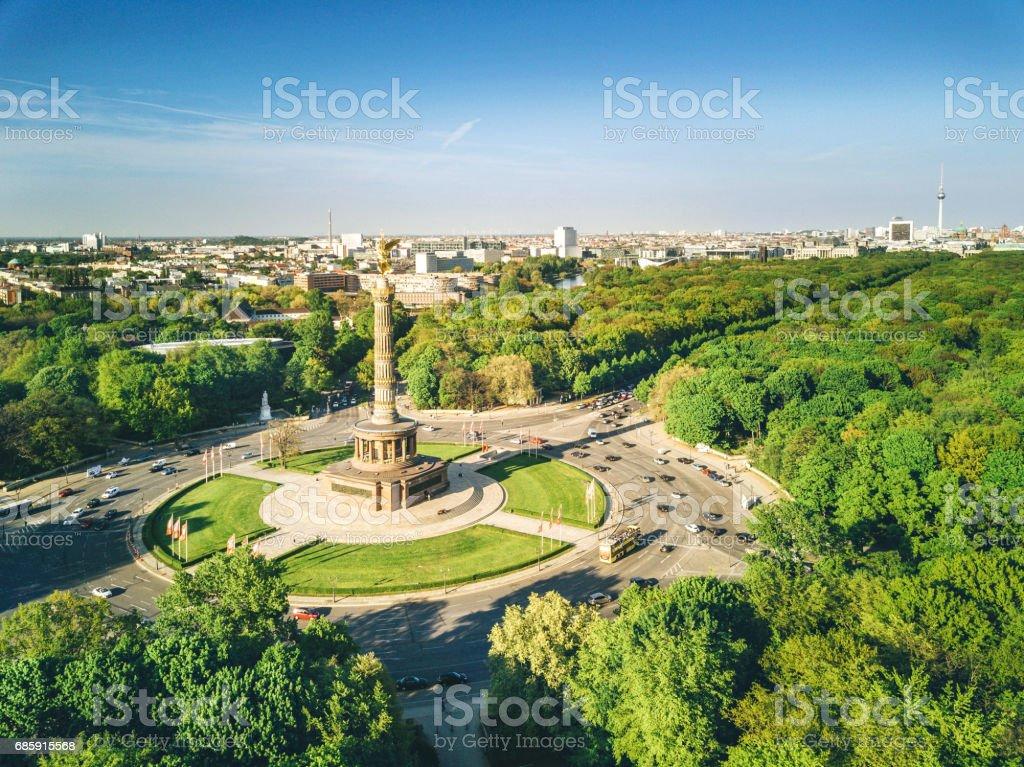 Victory column and Berlin Tiergarten, Germany stock photo