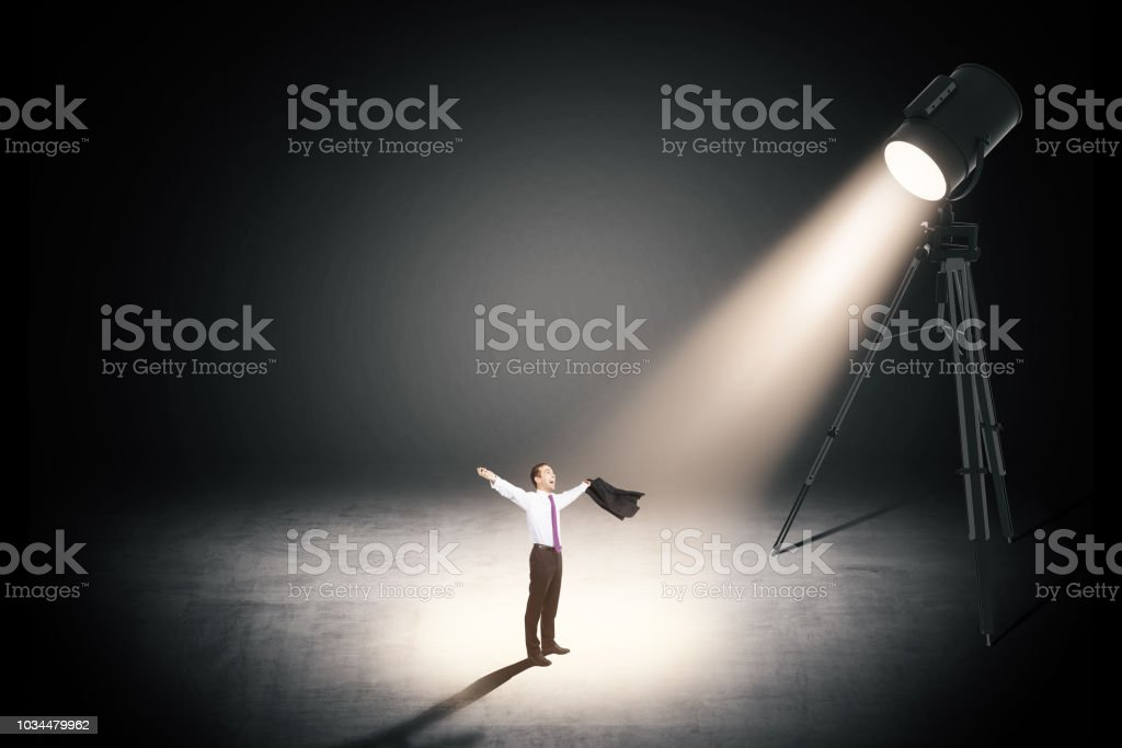 victory concept with cheerful businessman stock photo