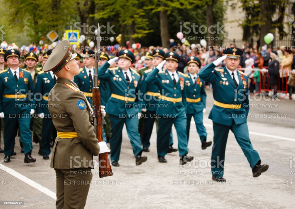 RUSSIAN, KOZELSK, MAY 9, 2017, Victory Day, May 9. Military Parade on anniversary of Victory in Great Patriotic War. Soldiers marching show at mass celebrations stock photo