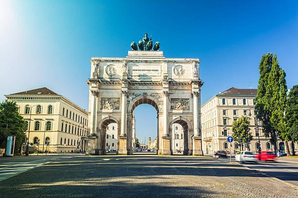 Victory Gate in Munich stock photo
