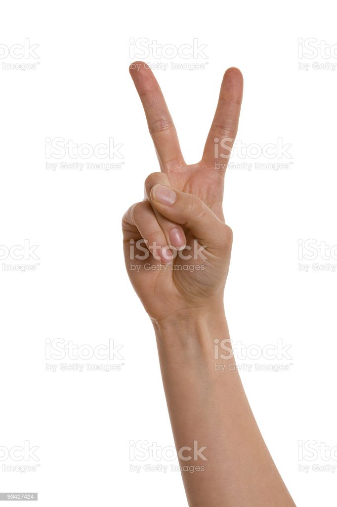 victory hand gesture stock photo