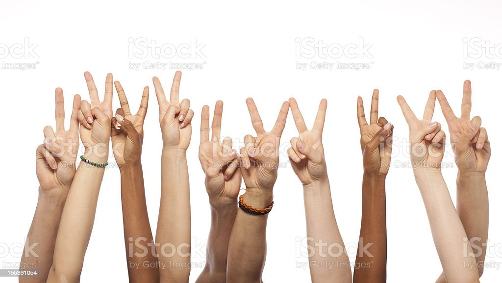 Victory Hands Raised royalty-free stock photo