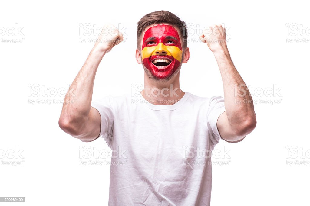 Victory, happy emotions of Spain football fan in game stock photo