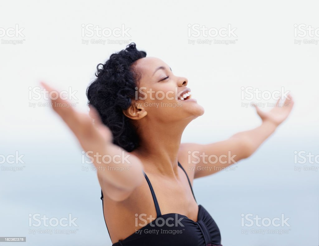 Victory ! - Happy young female with open arms royalty-free stock photo
