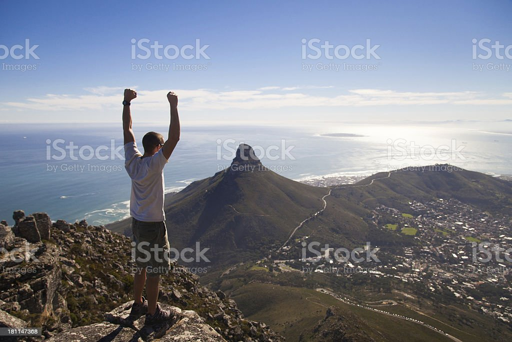 Victory On Top Of The Mountain royalty-free stock photo