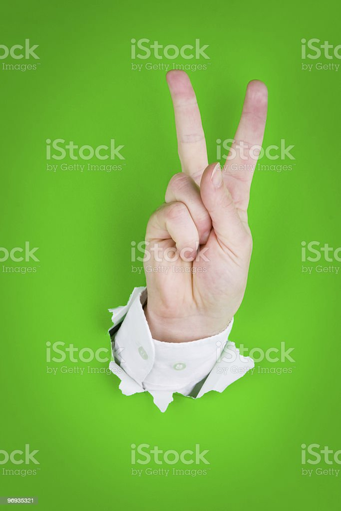 Victory sign gesture royalty-free stock photo