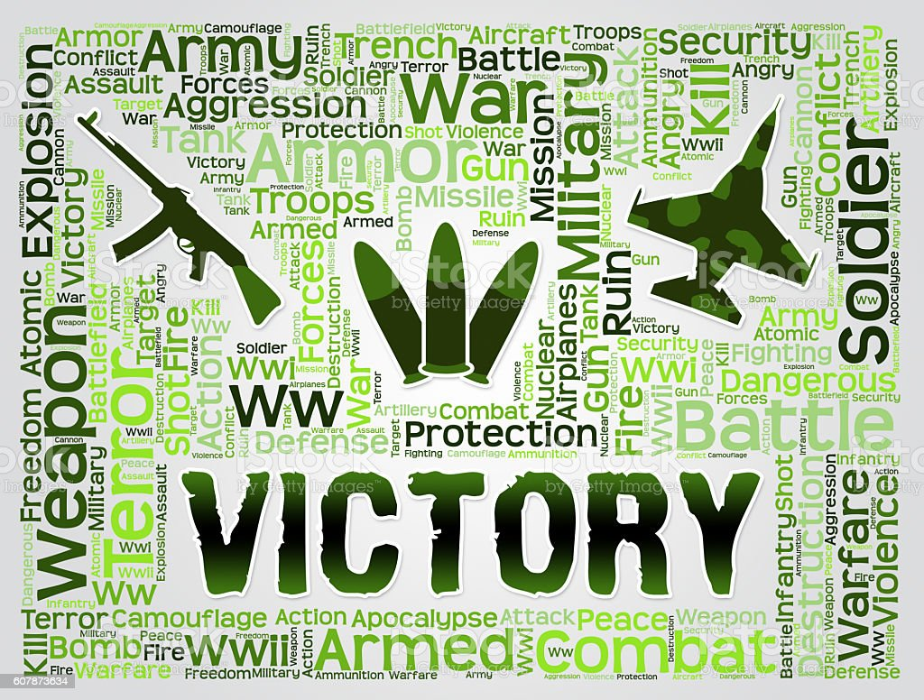 Victory Words Means Winning Winner And Victorious stock photo