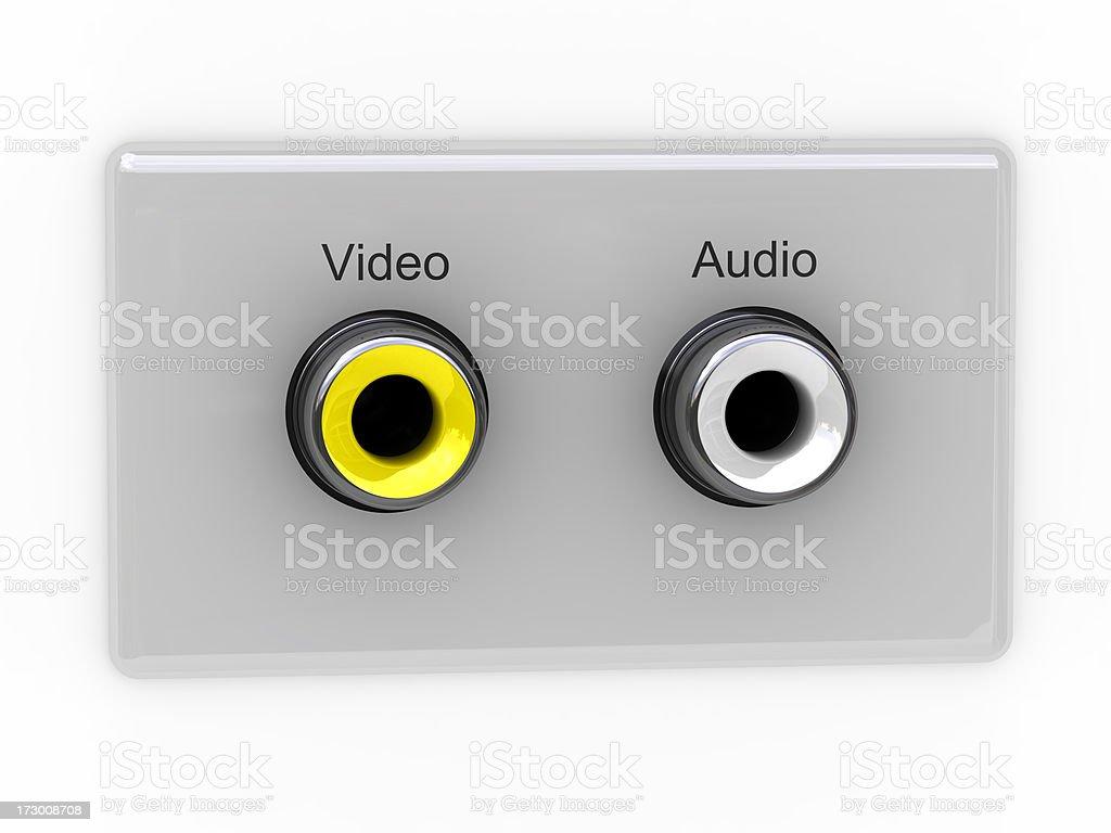 video and audio socket (hole) royalty-free stock photo