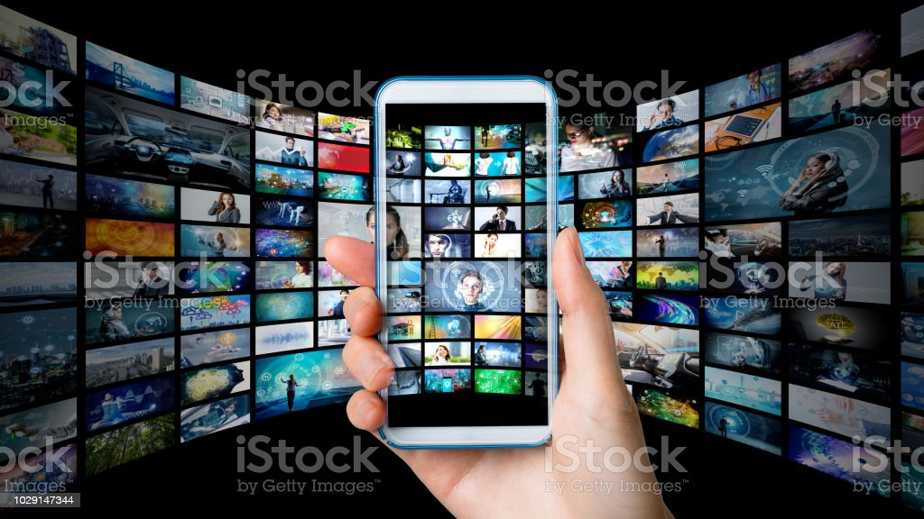Video archives concept. stock photo