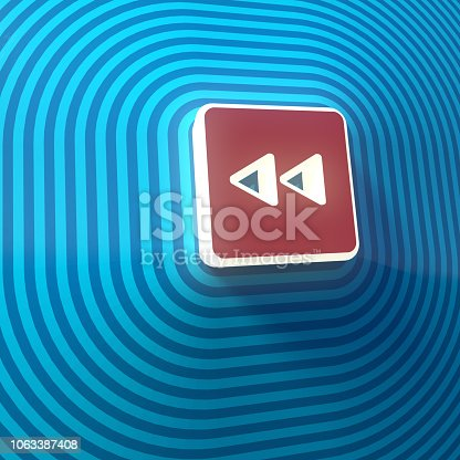 istock Video, audio backward double right arrows symbol, button, colorful sign. 3d rendering 1063387408