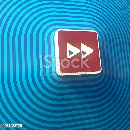 istock Video, audio forward double right arrows symbol, button, colorful sign. 3d rendering 1061233728