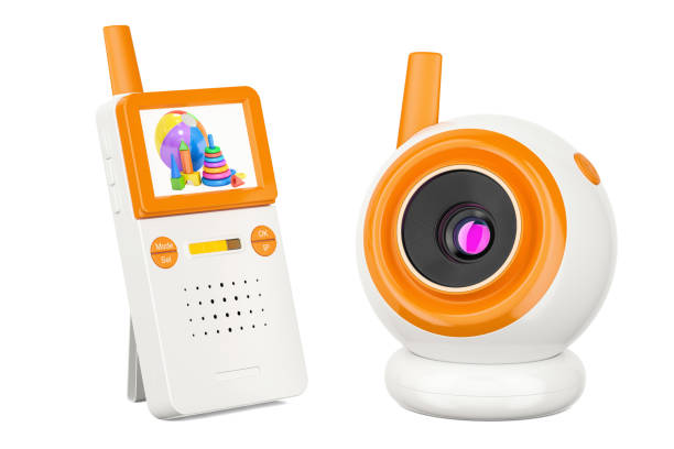 Video baby monitor, baby cam. 3D rendering isolated on white background stock photo