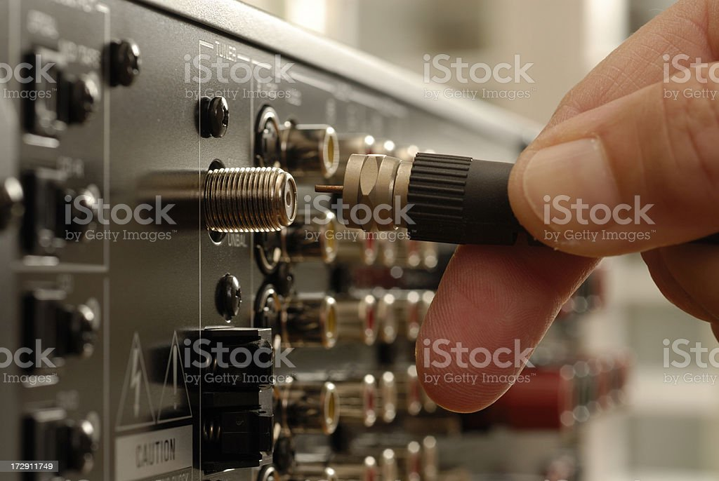 Video Cable being inserted into electronic equipment圖像檔