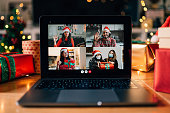 istock Video call on a laptop screen during Christmas 1283916505