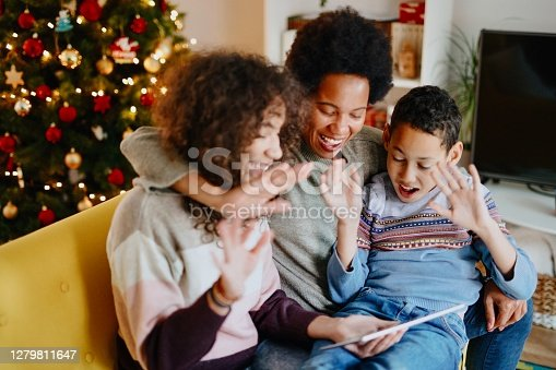 Video call with family on Christmas day during pandemic