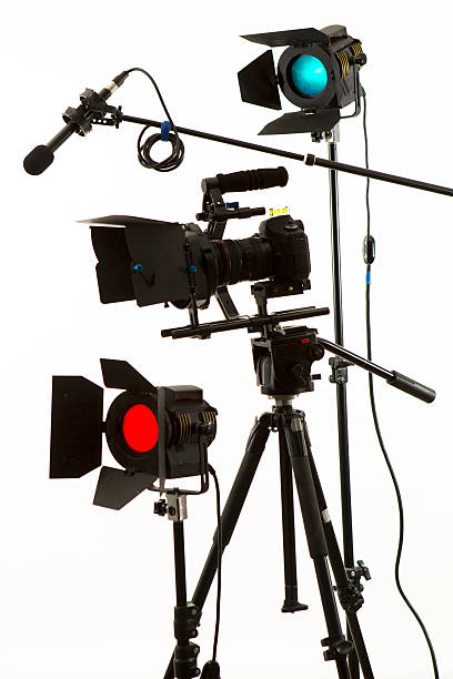 DSLR video camera and production group vertical stock photo