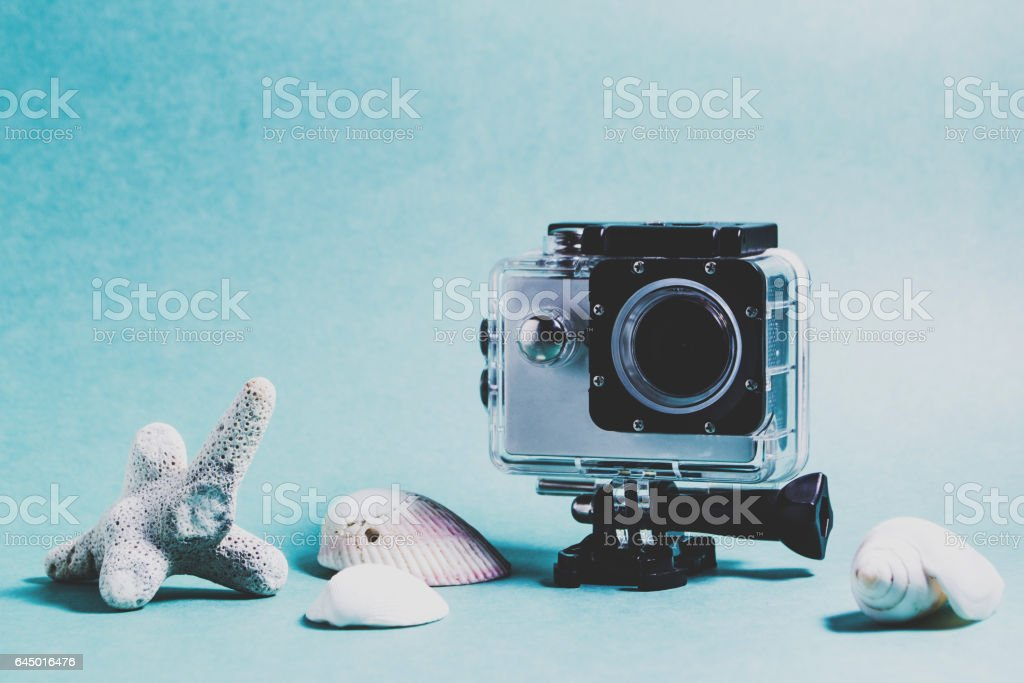 Video camera in an underwater box. Rest concept stock photo