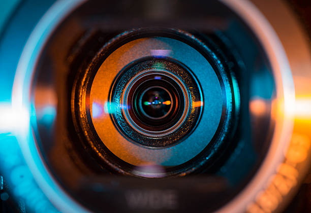 Video camera lens stock photo