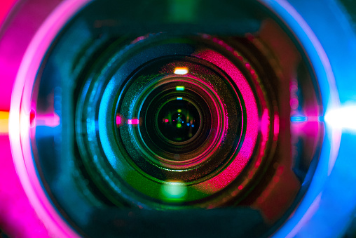 Video camera lens lit by different color light sources