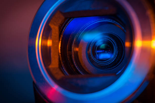 Video camera lens stock photo