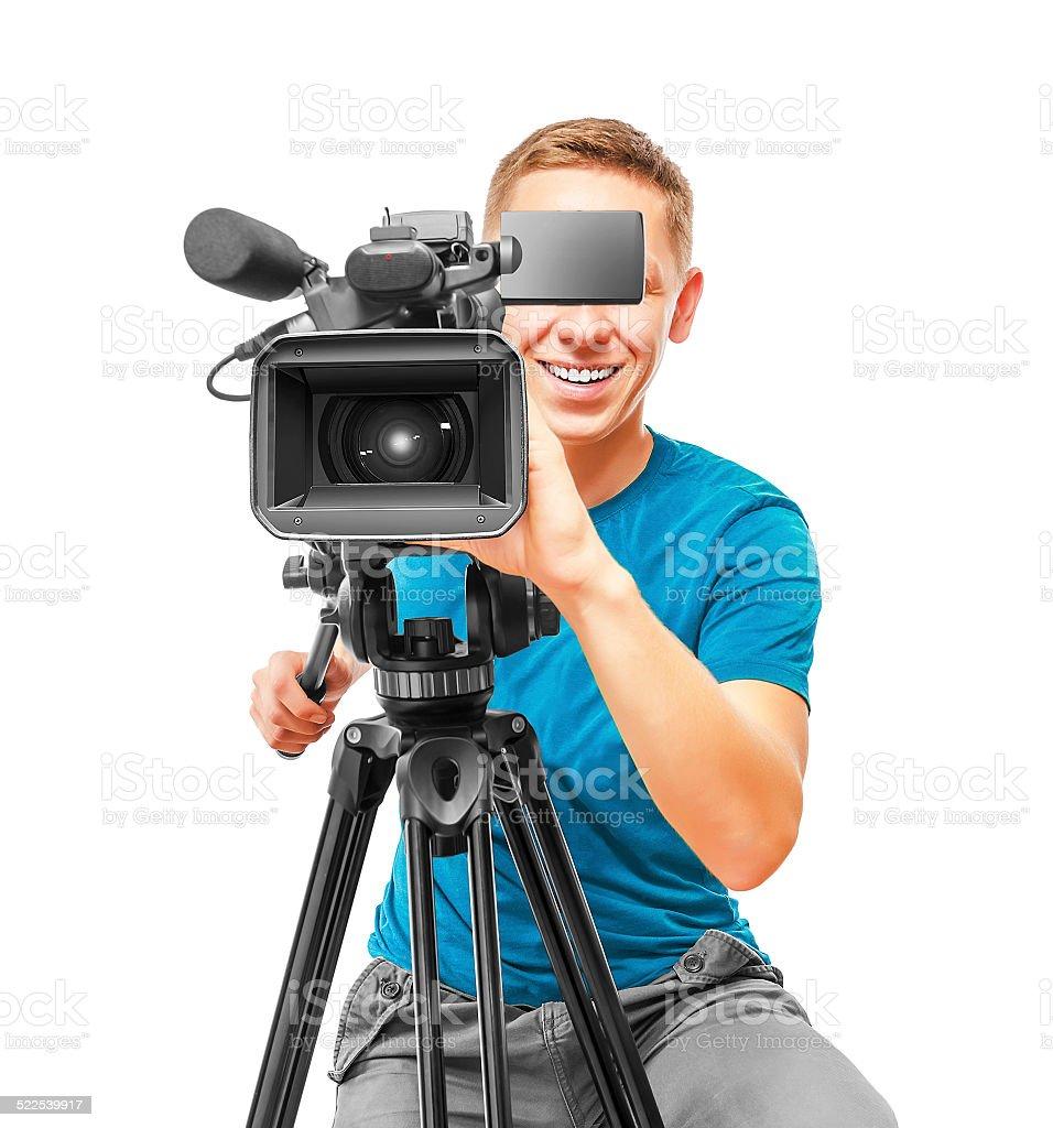 Video camera operator stock photo
