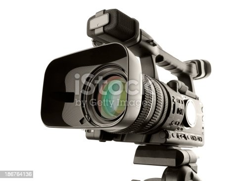 Video camera isolated on white